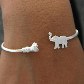 Birthday Gifts Elephant Bracelet Sterling Silver by ULoveJewelry