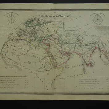 """WORLD MAP old print of ancient Worldmap 1840 original antique hand-colored cartography geography history vintage maps 14x18"""" poster"""