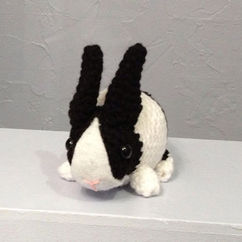 Dutch Bunny - Black and White - Stuffed Animal - Amigurumi