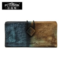 2017 New Arrival Women Wallet Genuine Leather Vintage Female Day Clutches long design Clutch Two Fold Purse Card Holder