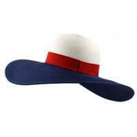 Wide Brim Red White and Blue  Foldable  Wide Brim  Straw Hat