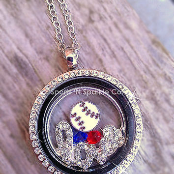 "Customized Floating Locket on Chain Necklace with ONE Sport Ball Charm, ""love"" plate and Two Crystal Charms Personalized Your Way"