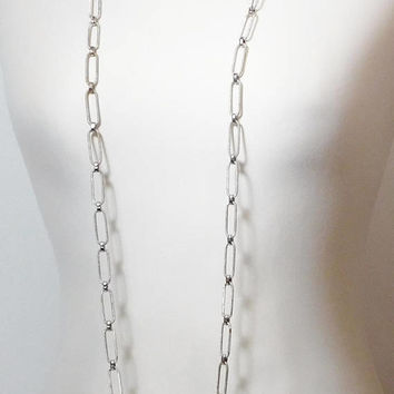 """Large Chain Link Silver Tone Necklace, Extra Long, Textured, Brushed Metal, Flapper Length, 53"""" Chain Necklace, Lightweight, Vintage"""