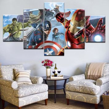 5 panel Printed Super Hero Avengers Captain Hulk painting on canvas for children room wall decor Canvas art print poster picture