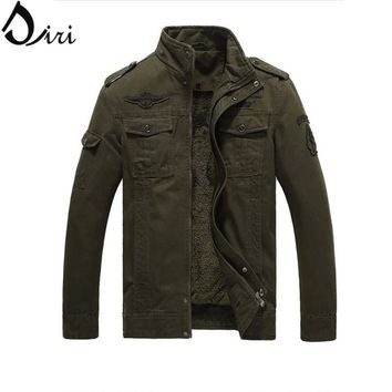 Plus Size 5XL 6XL Winter Men Jacket Velvet Thick Wool liner men coats Warm Casual man coats Army Green Military jackets Khaki