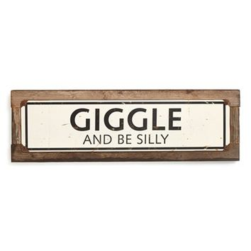 Poncho & Goldstein 'Giggle and Be Silly' Sign - Beige