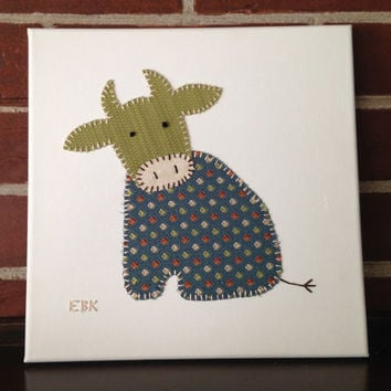 Sitting Cow #1 Fabric Wall Art