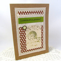 Congratulations Card - Vintage Congratulations - Kraft Card - Brown and White Polka Dots - Blank Card - Celebratory Card - Special Occasion