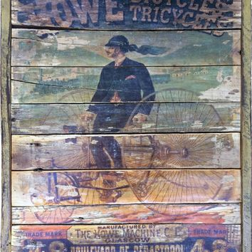 Howe Bicycle manufacturing vintage Style sign on reclaimed wood