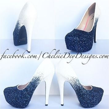 navy ombre glitter high heels something blue white wedding shoes  number 1