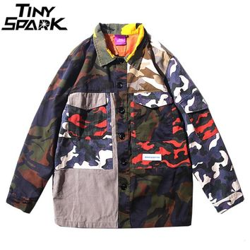 Trendy Mens Camouflage Jackets Hip Hop Vintage Camo Color Block Patchwork Jacket Streetwear Casual Bomber Jacket Fashion Autumn 2018 AT_94_13