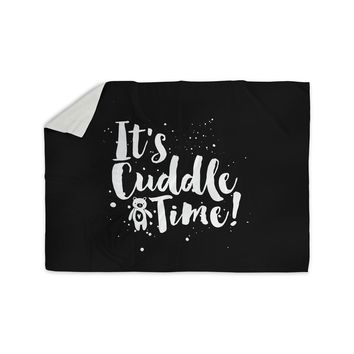 "Nick Atkinson ""Cuddle Time"" Black White Sherpa Blanket"