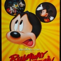 Runaway Brain DS one-sheet movie poster '95 Disney, great huge Mickey Mouse Jekyll & Hyde cartoon image!