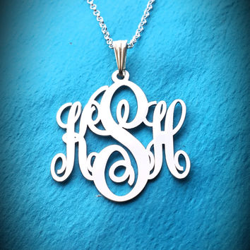 Tiny Monogram Necklace White Gold Holiday Gift Small Monogram Necklace Mongram Neckalce Birthday Gifts Monogram Gift Trendy Monogram Chain