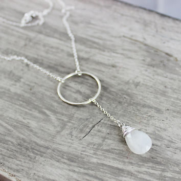 Rainbow Moonstone Necklace, Sterling Silver Necklace, Circle Necklace, White Gemstone Necklace, Long Pendant Necklace, Lariat Necklace