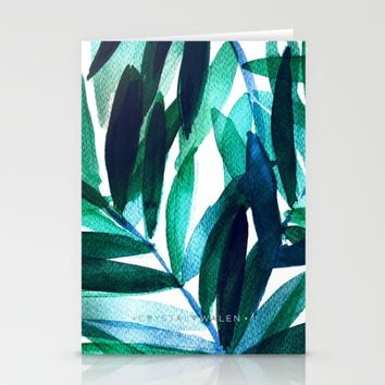 Palm Leaves - Teal Ombre Stationery Cards by CRYSTAL WALEN