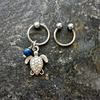 Turtle - Sodalite Stone - 20g 18g 16g 14g CBR / BCR Bead Captive Ring Horseshoe Piercing Jewelry Hoop ( Helix Tragus Orbital )