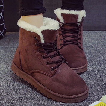 Fashion Winter Women Flat Lace-Up Warm Snow Ankle Boots Coffee
