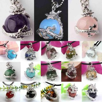 xinshangmie 16MM Silver Plated Amethysts Green Aventurine Blue Sand Unakite Opal Stone Dragon Pendants Fashion Jewelry