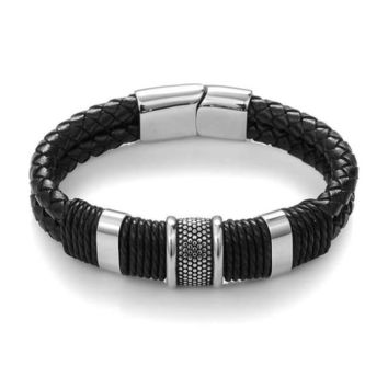 Men Black Braid Woven Leather Bracelet Titanium Steel Bracelet