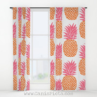 Pineapple Pattern WINDOW CURTAINS Decorative House Home Art Decor Gift Drapes Treatment Bright Orange Citrus Hot Pink Neon Ananas Modern