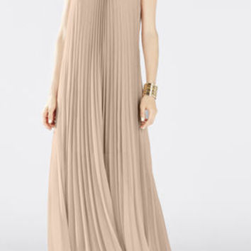 Pink BCBG Meghen Halter-Neck Pleated Gown