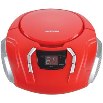 SYLVANIA(R) SRCD261-B-RED Portable CD Players with AM-FM Radio (Red)