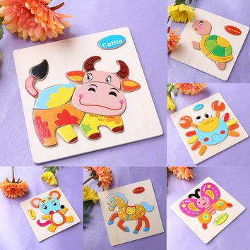 Baby Kid Cartoon Animals Dimensional Puzzles Toy 15 Different Jigsaw Puzzles Educational Toy for Children Christmas Gifts