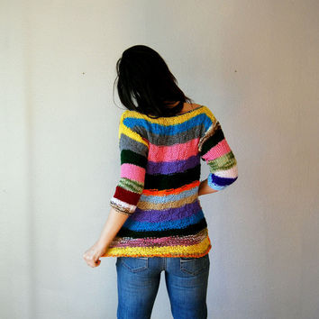 vintage COLORFUL knit sweater / 1970s handmade boatneck blouse