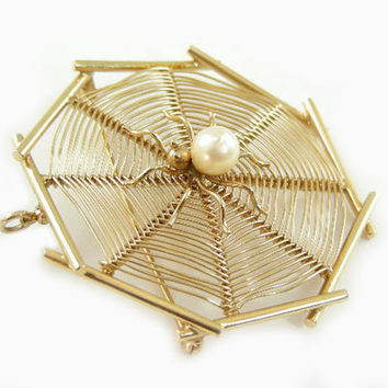 14K Gold Yellow Spider on Web Pin, Brooch, Pendant
