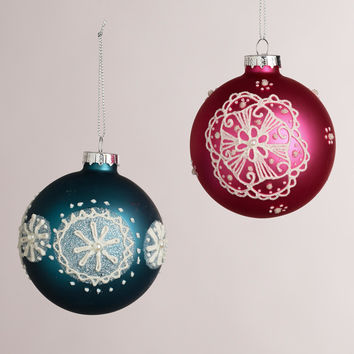 Embellished Glass Hand-Painted Ball Ornaments, Set of 2 - World Market