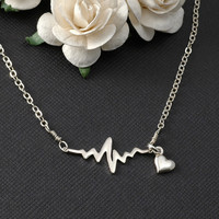EKG Rhythm Heart Beat Necklace Sterling Silver Gift for Doctor Nurse Firefighter Paramedic EMT Medical Gift