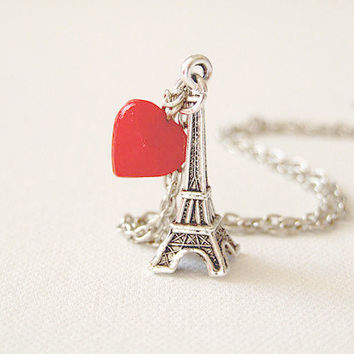 I Love Paris  Eiffel Tower charm and red by AnyaCloudJewellery