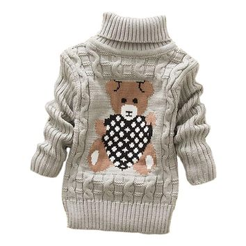 2018 autumn winter  Infant Baby Boys Girls Children Kids Knitted bear Pullovers Turtleneck Warm Outerwear Sweaters 1-8 year