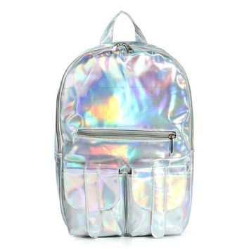 New Backpack Women Silver Hologram Laser Backpack Men's Bag Leather Holographic Backpack Multicolor