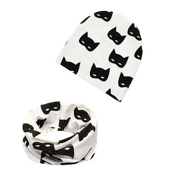 1a03e4ae0ad 1 Set Cotton Baby Hat Scarf Autumn Winter Child Caps Baby Beanies Girl Hats  Boys Scarf