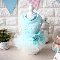 Winter Warm Bow Bead Princess Dog Dress Girl Female Grid Soft Cotton Dress Clothing For Dogs Puppy Dog Cat Pet Clothes Apparel