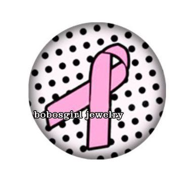 Ribbon- Pink Ribbon with Polka Dot Background - Snap Button