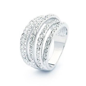 Silver Five Row Crystal Ring