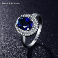2015 Latest Style Trendy Ring Platinum Plated Micro Pave Clear AAA Cubic Zirconia Round Blue Ring CRI0126-B