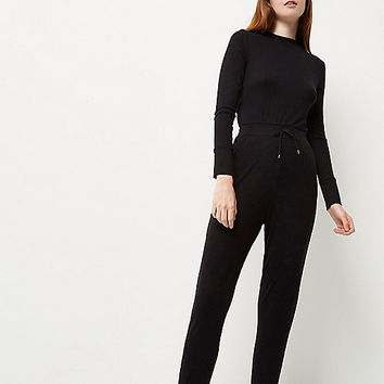 Black open back ribbed jumpsuit