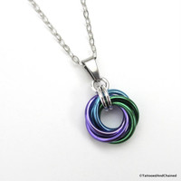 Purple, turquoise, and green pendant, chainmaille love knot