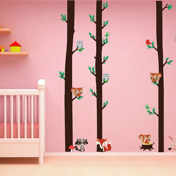 kcik1665 Full Color Wall decal bedroom children's room decor Custom Baby Nursery on bed baby tree nusery decal tree forest animals