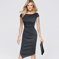 Vfemage Womens Asymmetric Neckline Hem Elegant Vintage Draped Cap Sleeve Belted Work Office Business Casual Party Dress 2351
