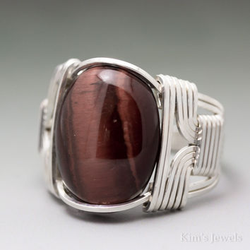 Red Tigers Eye Cabochon Sterling Silver Wire Wrapped Ring