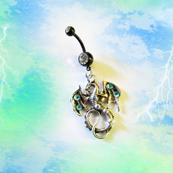 Blue Dragon Belly Button Ring Of Earth