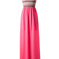 Zig Zag One Shouldered Maxi Dress - Pink