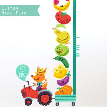 Growth chart tractor inches wall decal, height chart stickers, unique nursery room self adhesive decal, kids playroom, boys, girls