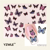 YZWLE Fashion Cute DIY Watermark Butterflies Tip Nail Art, Nail Sticker & Decal Manicure Nail Tools