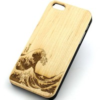 W140 GENUINE WOOD Organic Snap On Case Cover for APPLE IPHONE 4/4S,5/5S,5C - GREAT WAVE OFF KANAGAWA